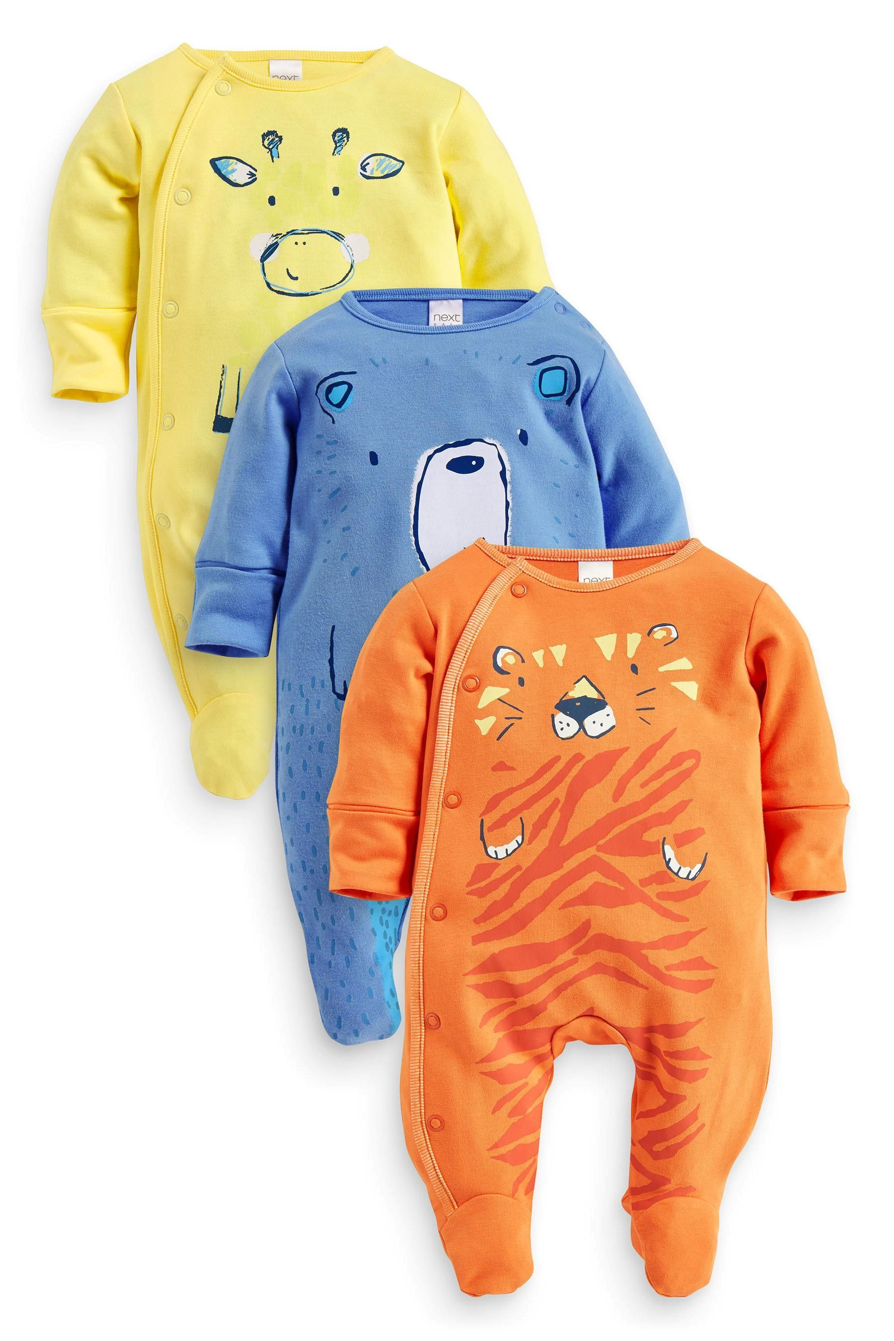 Buy Three Pack Bright Animals Sleepsuits 0mths 2yrs from the Next
