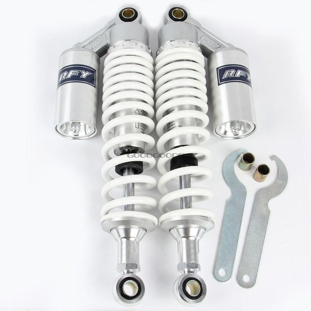 white New 340mm Adjustable Motorcycle Motocross Rear Suspension Air