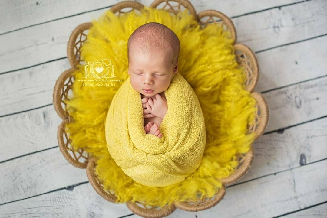 Yellow Felted Curly Layer Newborn Baby Photography Props  Basket Stuffer