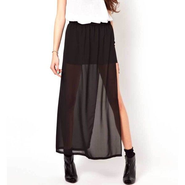 New Fashion Skirt Women 2017 Summer Style Solid Color Black Chiffon Skirt  Long Side Split Casual Vintage Maxi Skirt Plus Size