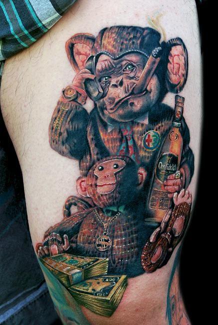 Ridiculously good monkey tattoo