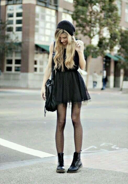 02e12f664 Look rockero:vestido negro y botines negros | vestidos yo en 2019 ...