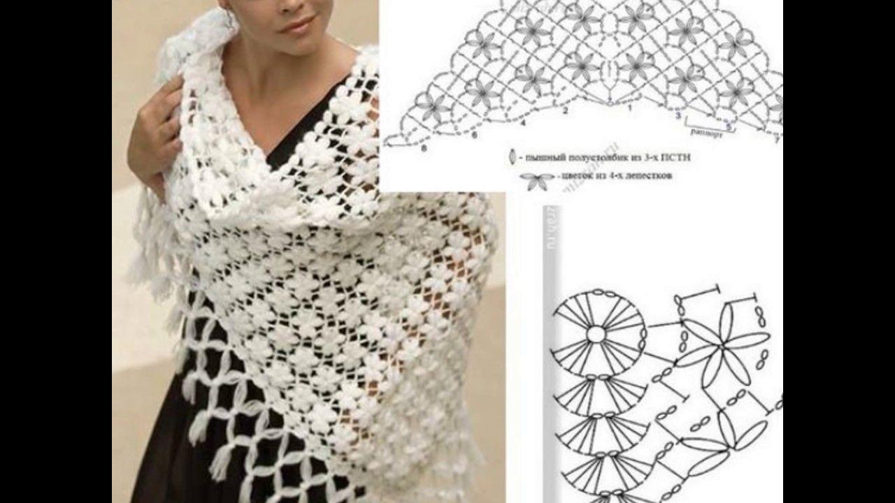 Patrones de chal tejidos al crochet | Patrones de chal, Chales ...