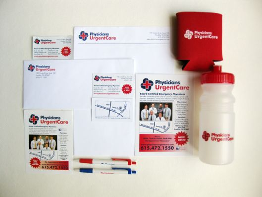 Custom printing and design for Physicians Urgent Care in Franklin, TN. Includes: two sided color business cards with a custom map; #10 envelope and letterhead; and a slew of promotional pieces: flyers, koozies, water bottles, pens, and magnets.