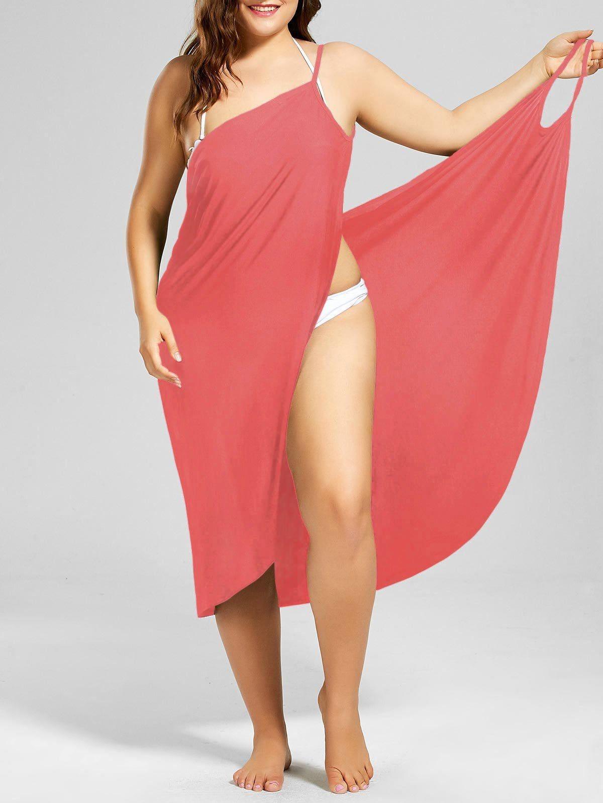 92ac0c72bd Plus Size Beach Cover-up Wrap Dress - WATERMELON RED XL