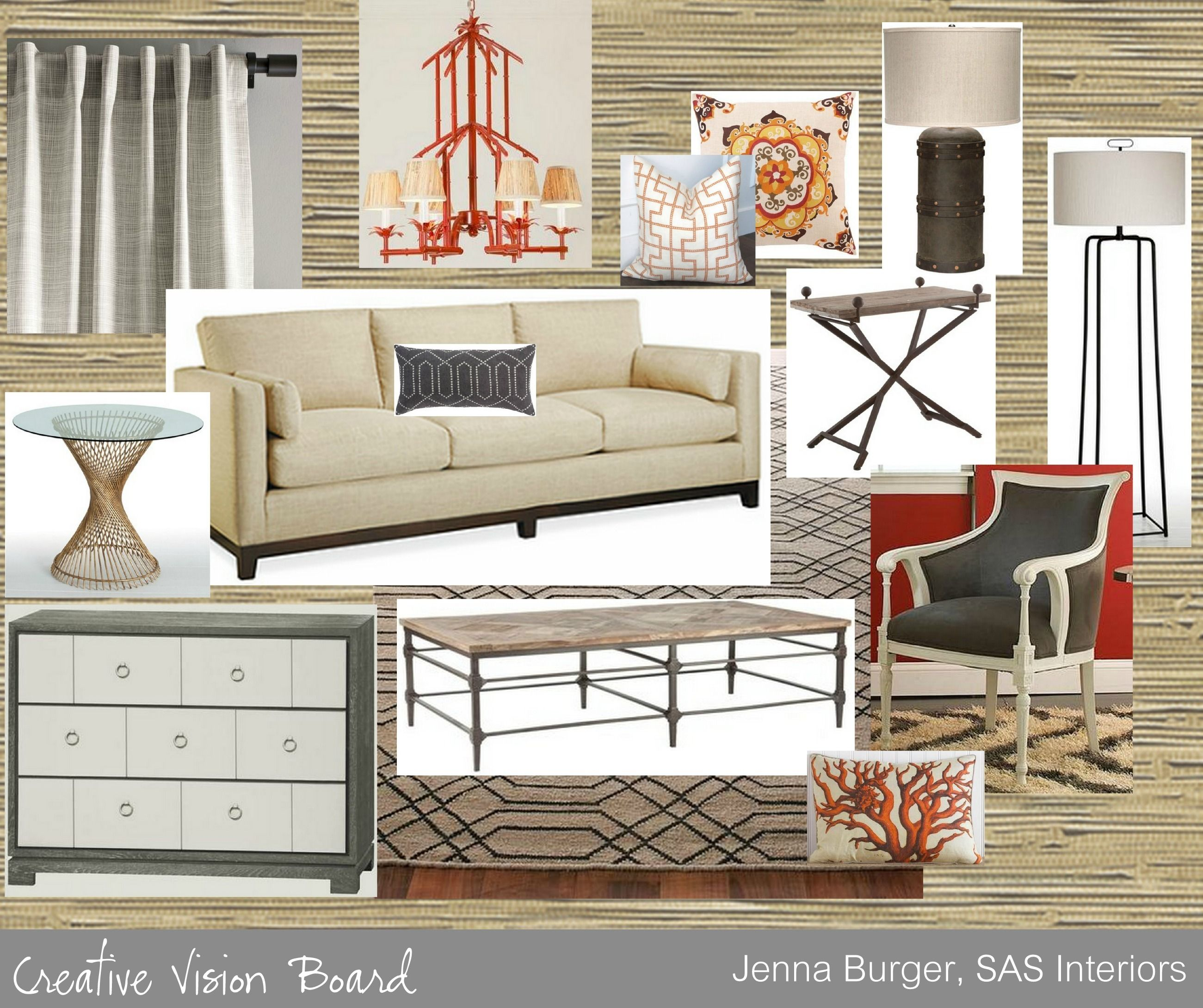 Creative Vision Board Red Hot Eclectic Living Room By