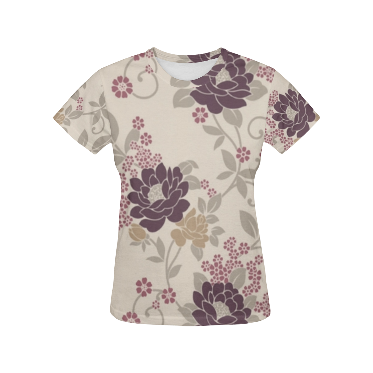 vintage burgundy beautiful floral wallpaper all over print t-shirt