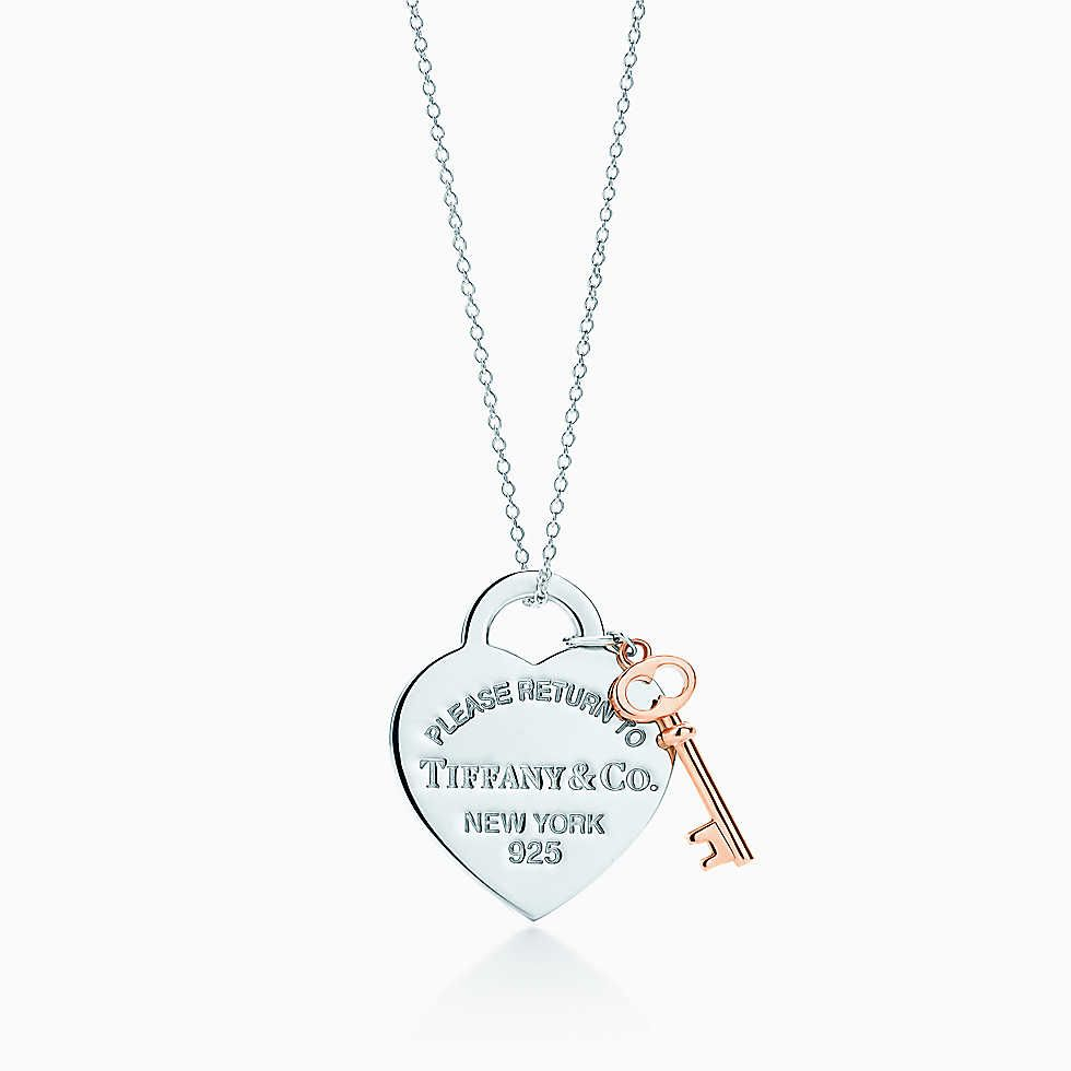 434b43f7a Return to Tiffany® heart key pendant in silver and RUBEDO® metal, medium.