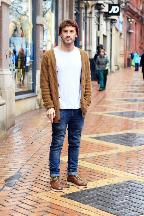 Men's Brown Knit Cardigan, White Crew-neck T-shirt, Blue Jeans ...