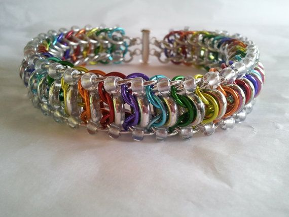 Rainbow glass caterpillar glass and chainmaille by galiam34jewelry, $40.00