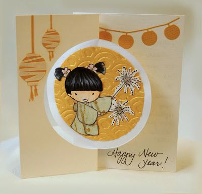 handmade new year card adorable little girl image from sister stamps machine cut lanterns fun design swing card on front side of the card