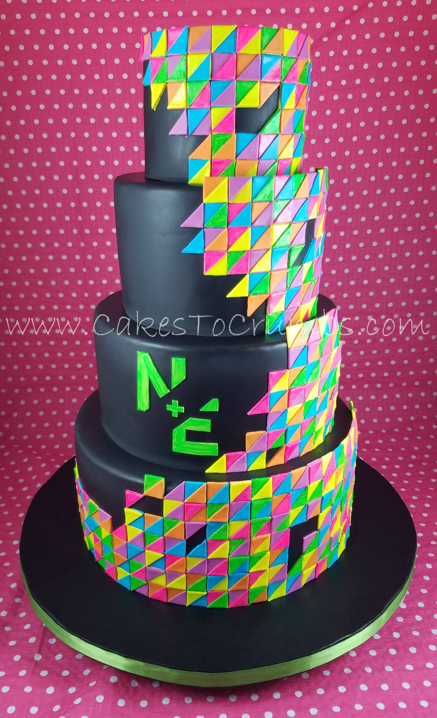 Glow In The Dark Bnot Mitzvah Cake Triangle Cake Cakes 2018