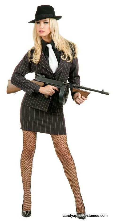 This sexy gangster moll takes her crime seriously! Women s gangster costume  includes a black and white pinstripe double breasted suit jacket with long  ... f640f80312a
