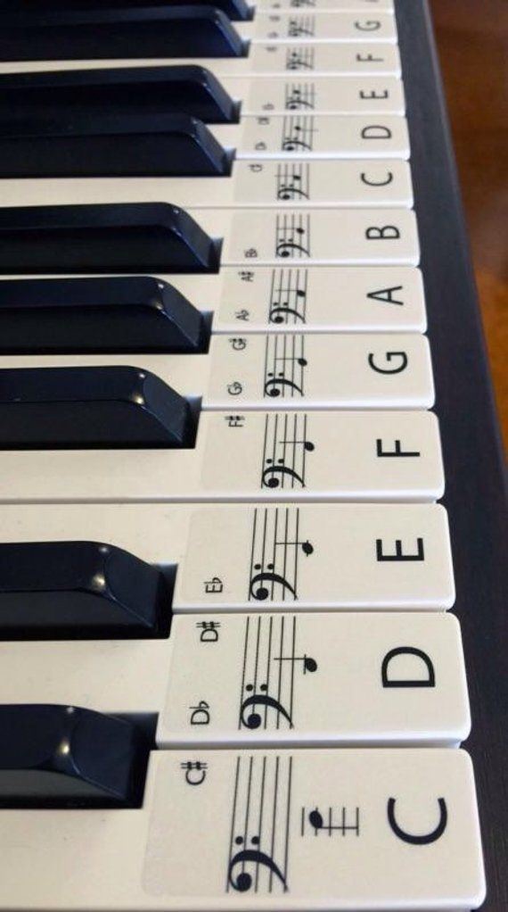 PIANO stickers, Learn, STANDARD CLEAR Keyboard / Piano Stickers up to 61 Keys the best way to learn Piano Transparent