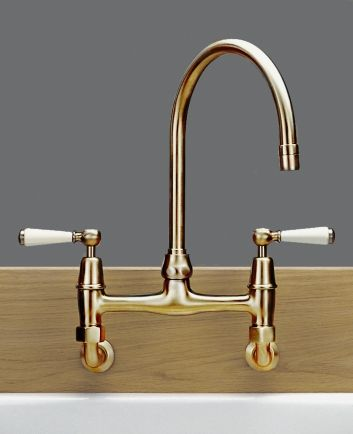 Tradition Brass wall mounted 2-hole kitchen sink mixer ...