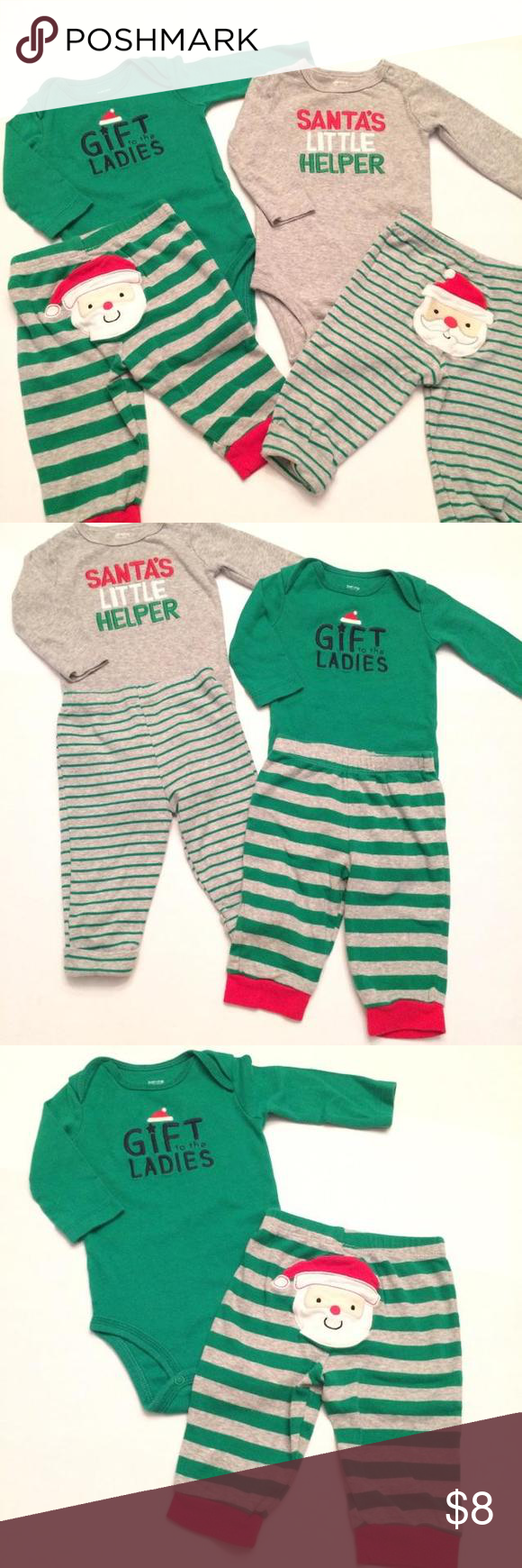 4 Piece Outfit Christmas Mix & Match Set Cute 2 outfit mix and match set. One out from Carters the other Just One You by Carters. Cute for Christmas 🎄 Carters Shirts & Tops