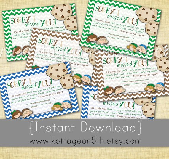 Sale 3 designs 4x6 instant download girl scout cookie sorry i sale 3 designs 4x6 instant download girl scout cookie sorry i missed you colourmoves Image collections