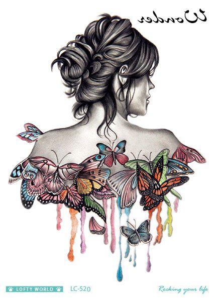 Lc 520 2115cm hd women large tatoo sticker halloween half butterfly women design
