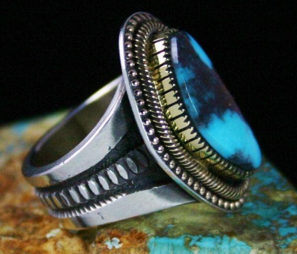 Sammie Kescoli Begay Rare Gem Grade Bisbee Turquoise Solid 18K Gold Over Ingot Sterling Silver Ring