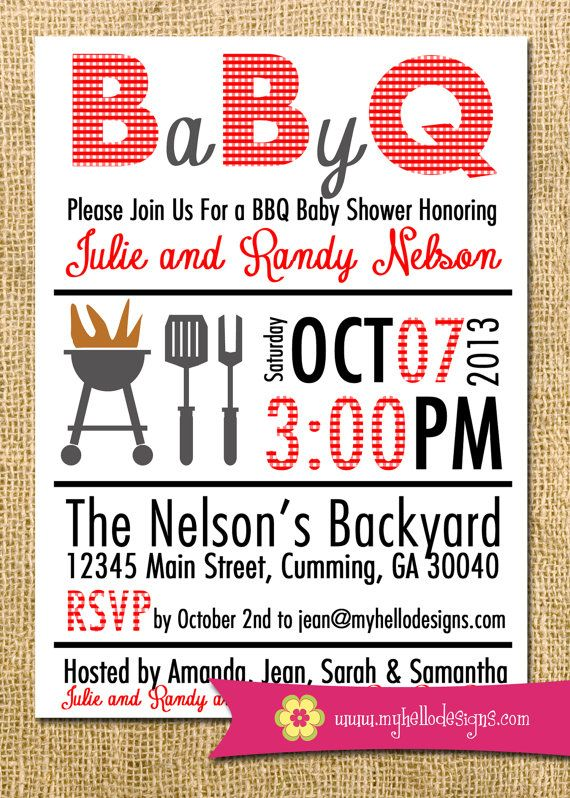 Lovely Printable BBQ Invitation Any Color Combination   Backyard BBQ Shower Invite  DIY   Birthday Baby Shower Invitation Party Grill Backyard