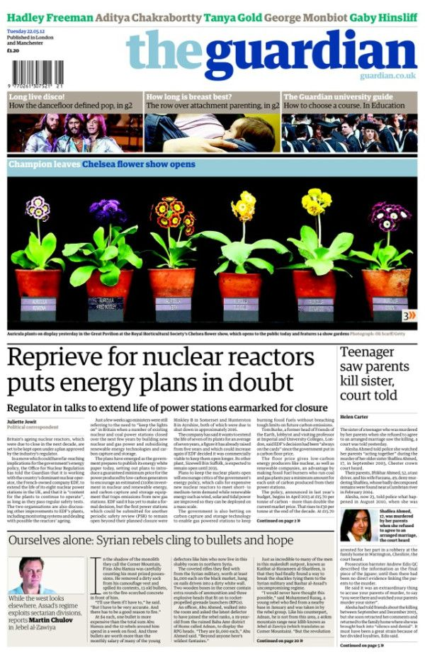 Guardian front page, Tuesday 22 May - Reprieve for nuclear reactors puts energy plans in doubt  www.guardian.co.uk/environment/2012/may/21/nuclear-reactor-reprieve-energy-plans-doubt?CMP=SOCNETIMG8759I