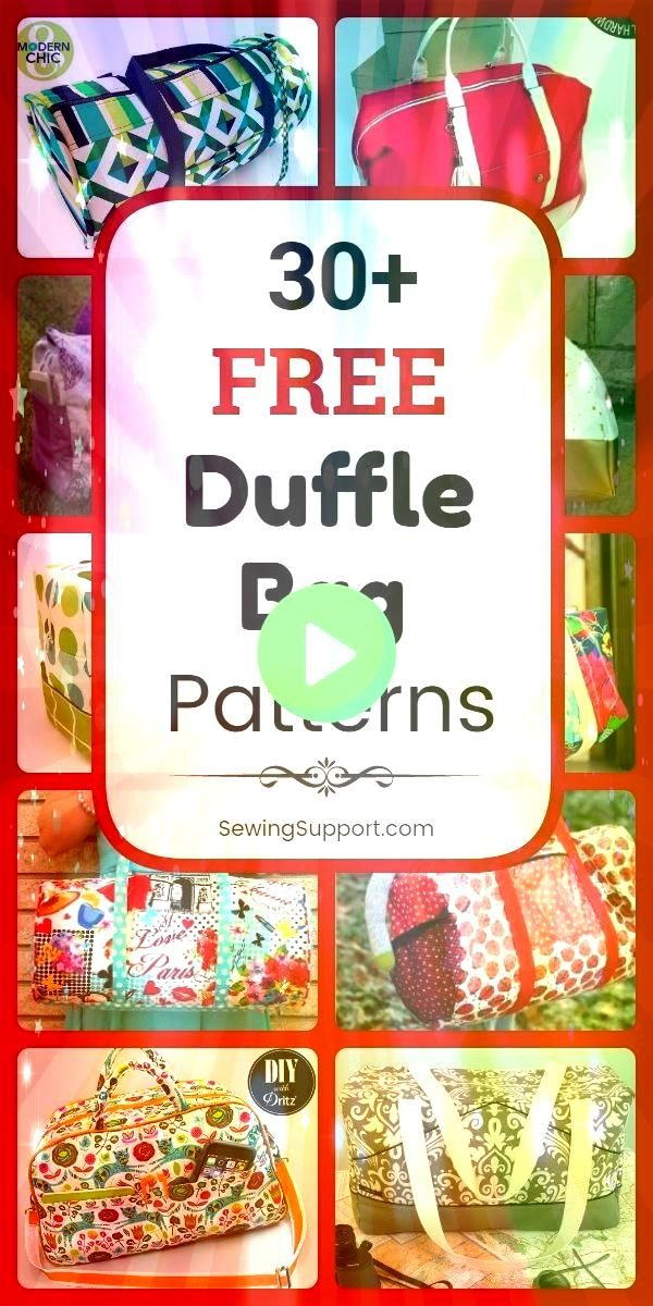 Bag Patterns for Duffle Bags 30 free duffle bag patterns diy projects and tutorials to sew Great bag for weekend travel kids school sports and gym Bag Patterns for Duffle...