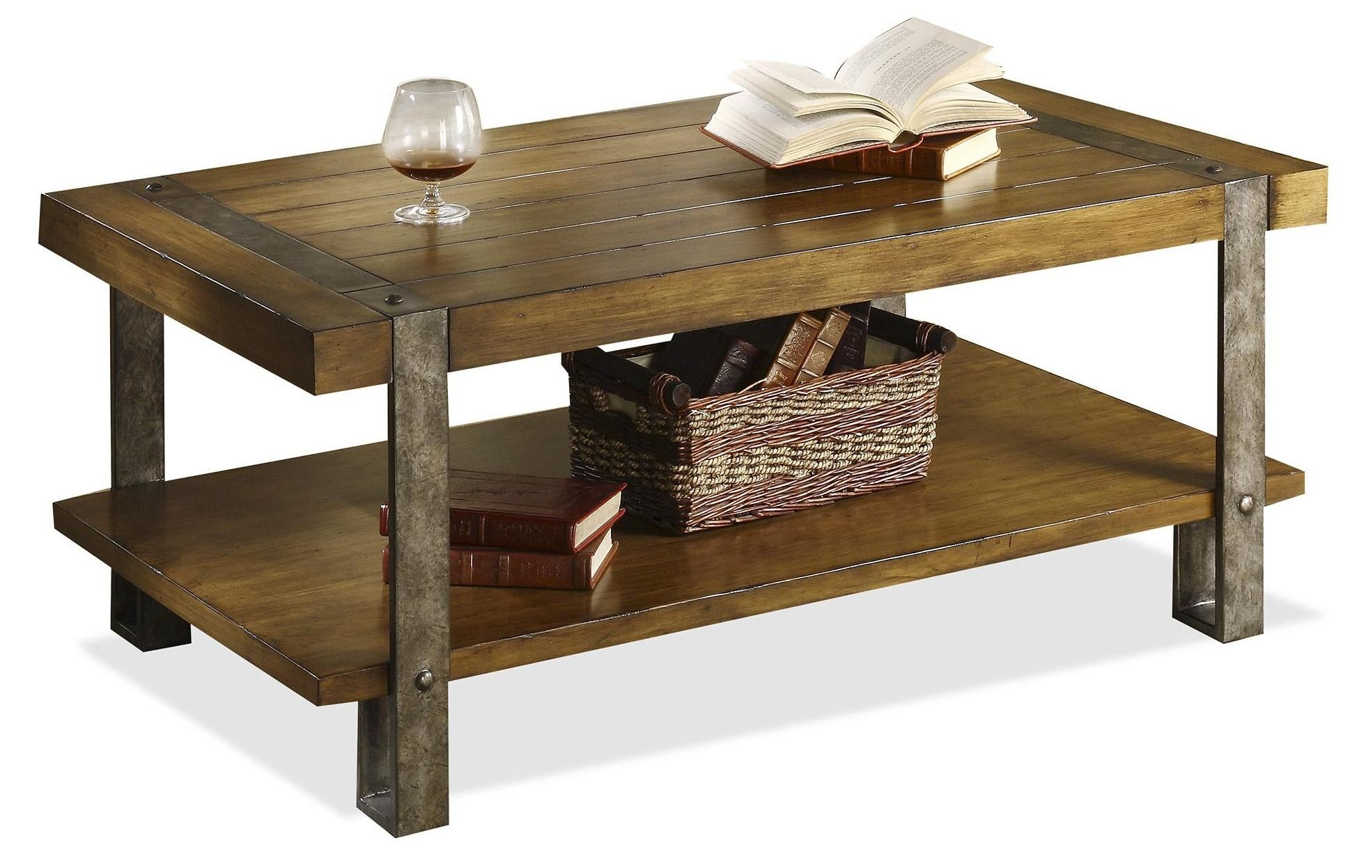 Sierra Coffee Table By Riverside Furniture A Striking Combination Of Aged Metal And Wood In Worn Oak Finish