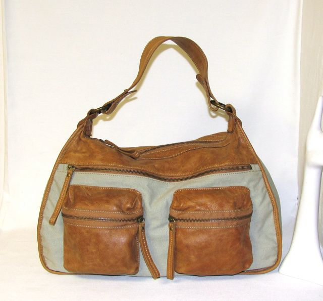 8537bf7fc346 Vintage 1990 s MeMo s Saccs Tan Leather   Canvas XL Sized Hobo Shoulder Bag  Purse