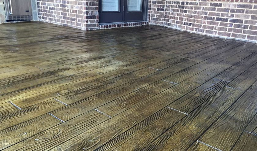 Stamped Random Boardwalk Plank Patio