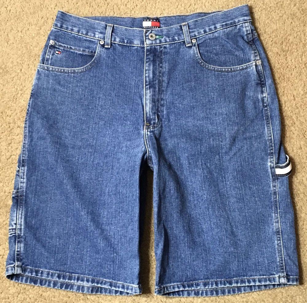 94765110 Tommy Hilfiger Shorts Men's Jean Denim Jorts Cargo Blue Flag 100% Cotton Sz  35 #TommyHilfiger #Cargo