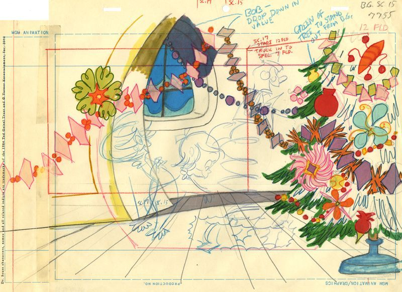 """Original layout design by Maurice Noble for """"Dr. Seuss' How the Grinch Stole Christmas.""""  Gouache and color MGM animation paper."""