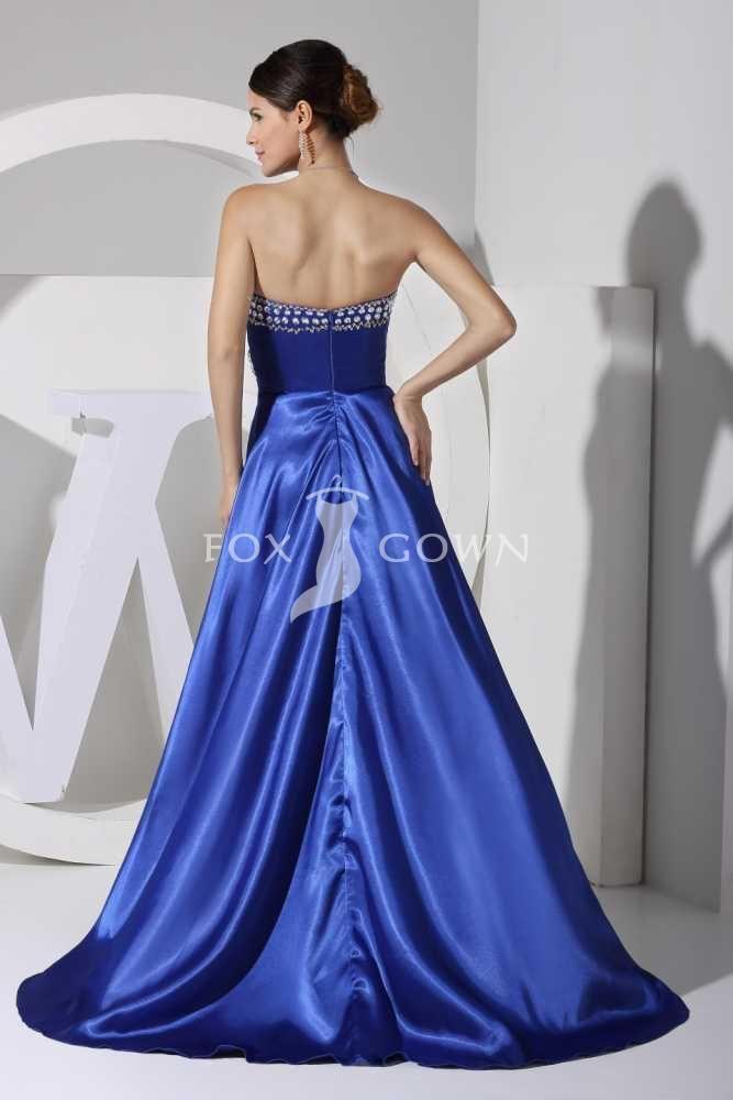 royal blue sweetheart sleeveless high low a line satin evening dress ...
