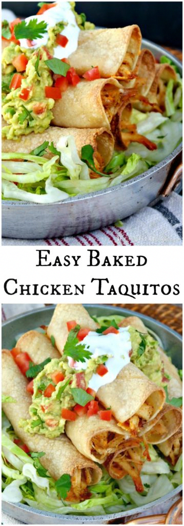 Baked Chicken Taquitos filled with Pre-made Chicken and Cheese!  These make a delicious dinner or enjoy as an appetizer.  Kid friendly dish!