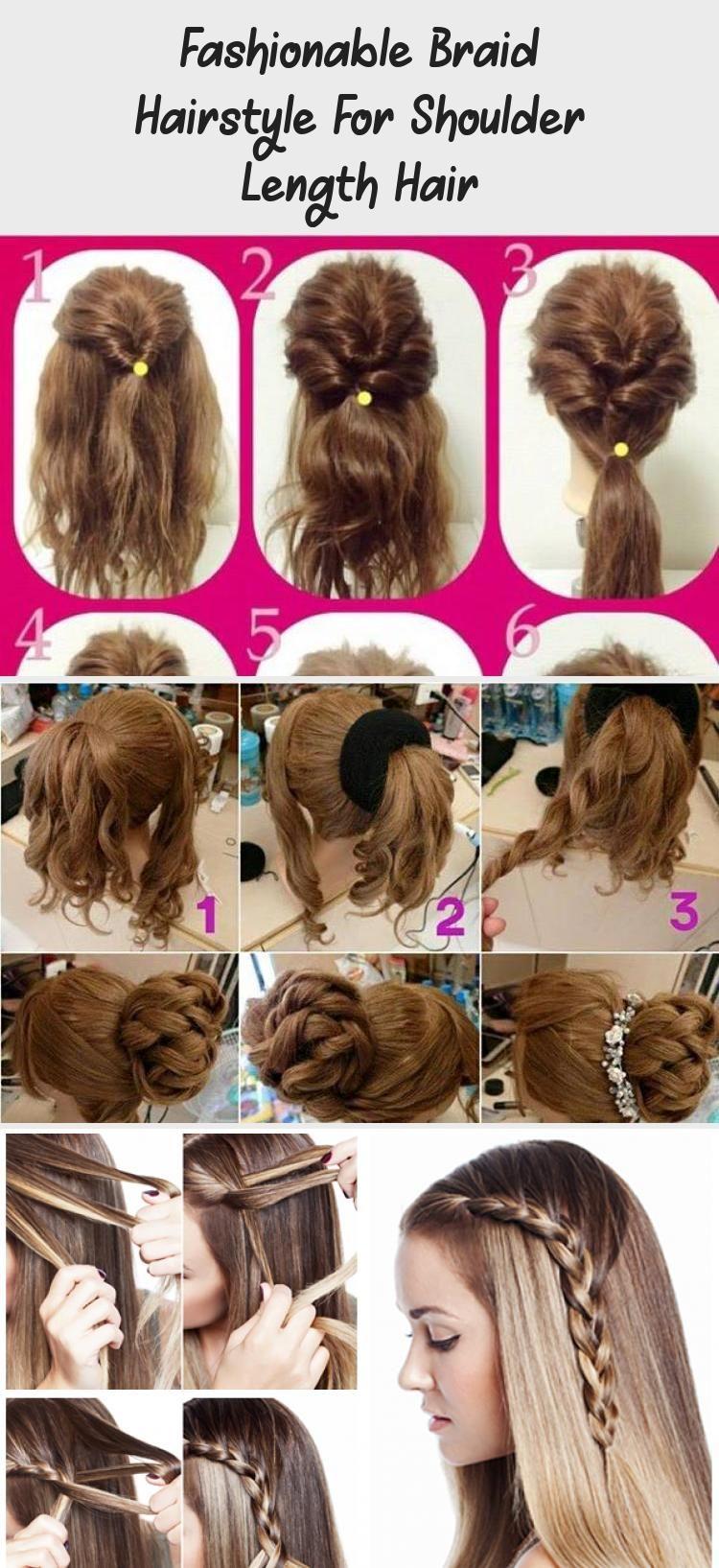Fashionable Braid Hairstyle For Shoulder Length Hair Hairtutorialbun Hairtutorialpeinados Hairtutorialb In 2020 Hair Lengths Shoulder Length Hair Braided Hairstyles