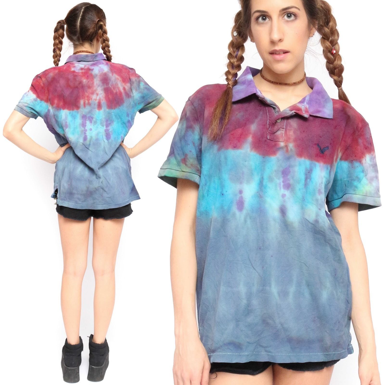 0d9080cf6c4 Vintage 90 s American Eagle Purple Blue Red Tie Dye Polo Shirt ...