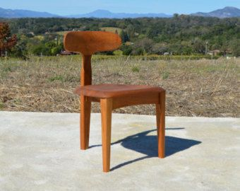 Mid Century Modern Inspired Three Legged Solid Teak T Chair