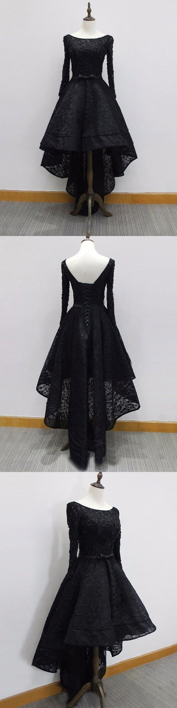 Chic a line prom dress modest black lace cheap long prom dress