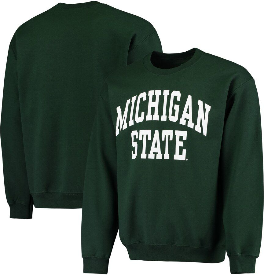 Men S Fanatics Branded Green Michigan State Spartans Basic Arch Sweatshirt College Hoodies College Sweatshirt University Sweatshirts [ 900 x 900 Pixel ]