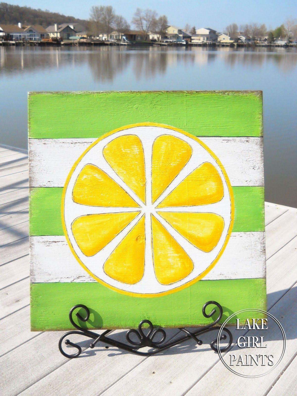 Lake Girl Paints: DIY Wall Art - Citrus Stripes   Summer   Pinterest ...