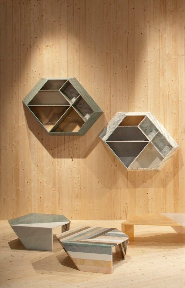 Wall Mounted Floating Marble Bookcase Earthquake 59 Collection By Budri