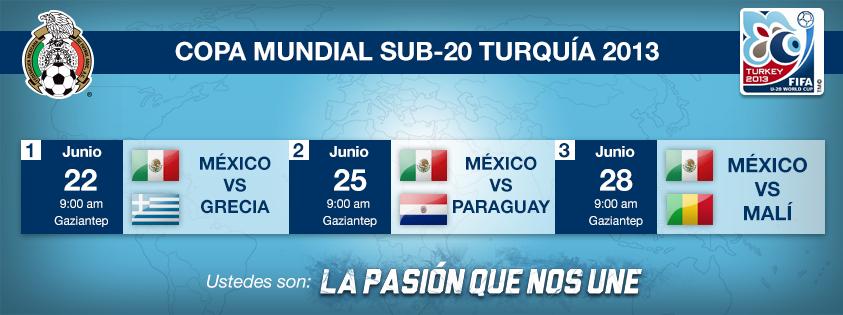 Calendario de la #PasionQueNosUne en el Mundial Sub20 de Turquía. #soccer #sports #mexico #seleccionmexicana #futbol