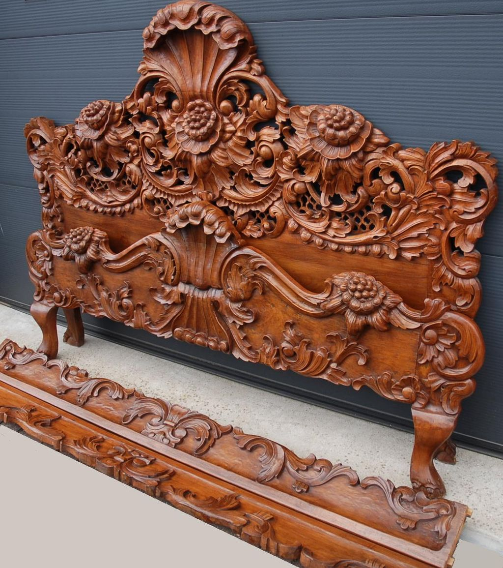 Hand Carved Bed: Incredible Vintage Hand Carved Wood Full Queen Bed Floral