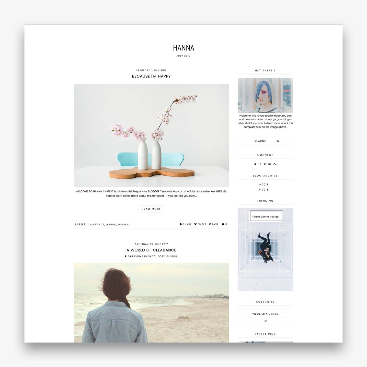Hanna A Responsive Blogger Template Simple And Clean Layout With Many Other Features Free Installation Is Included Bbloggers Lbloggers Fbloggers Ukblo