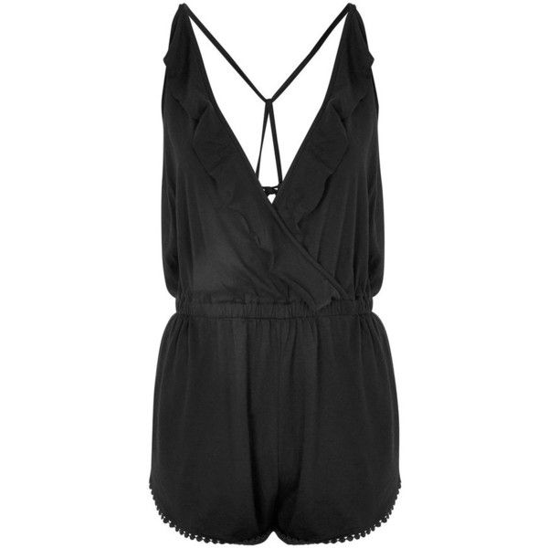 7f5e0cb306e3 Women s Topshop Jersey Wrap Cover-Up Romper ( 40) ❤ liked on Polyvore  featuring swimwear