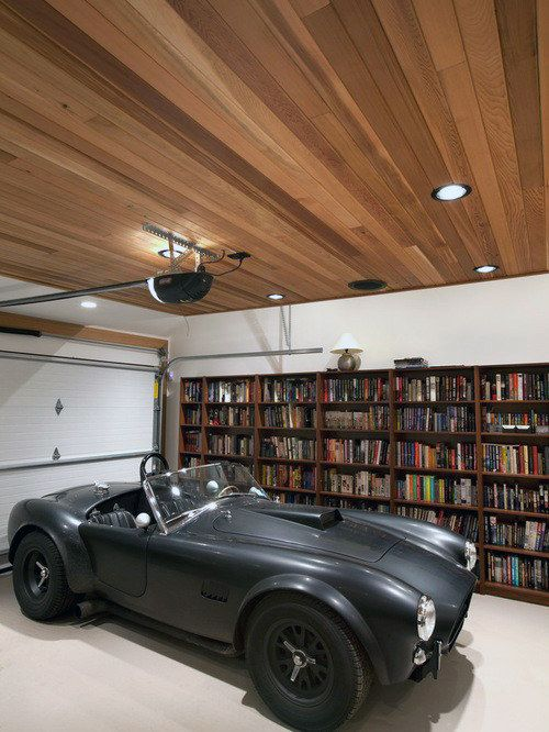 Led Lights For Garage With Wood Panel Ceiling Design