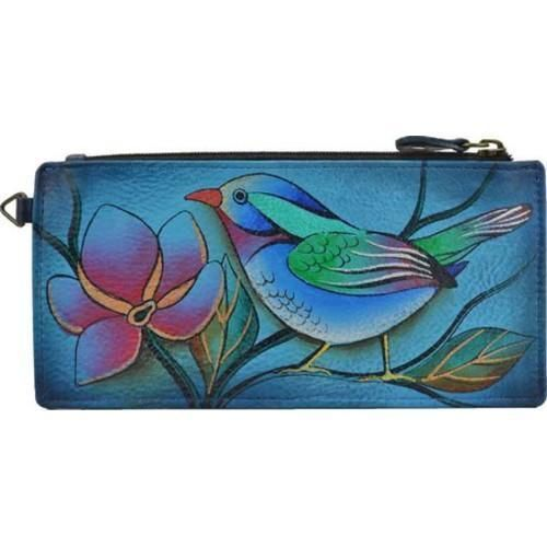 Anuschka Leather Organizer Credit Card Holder Wallet Anna Hand Painted Art