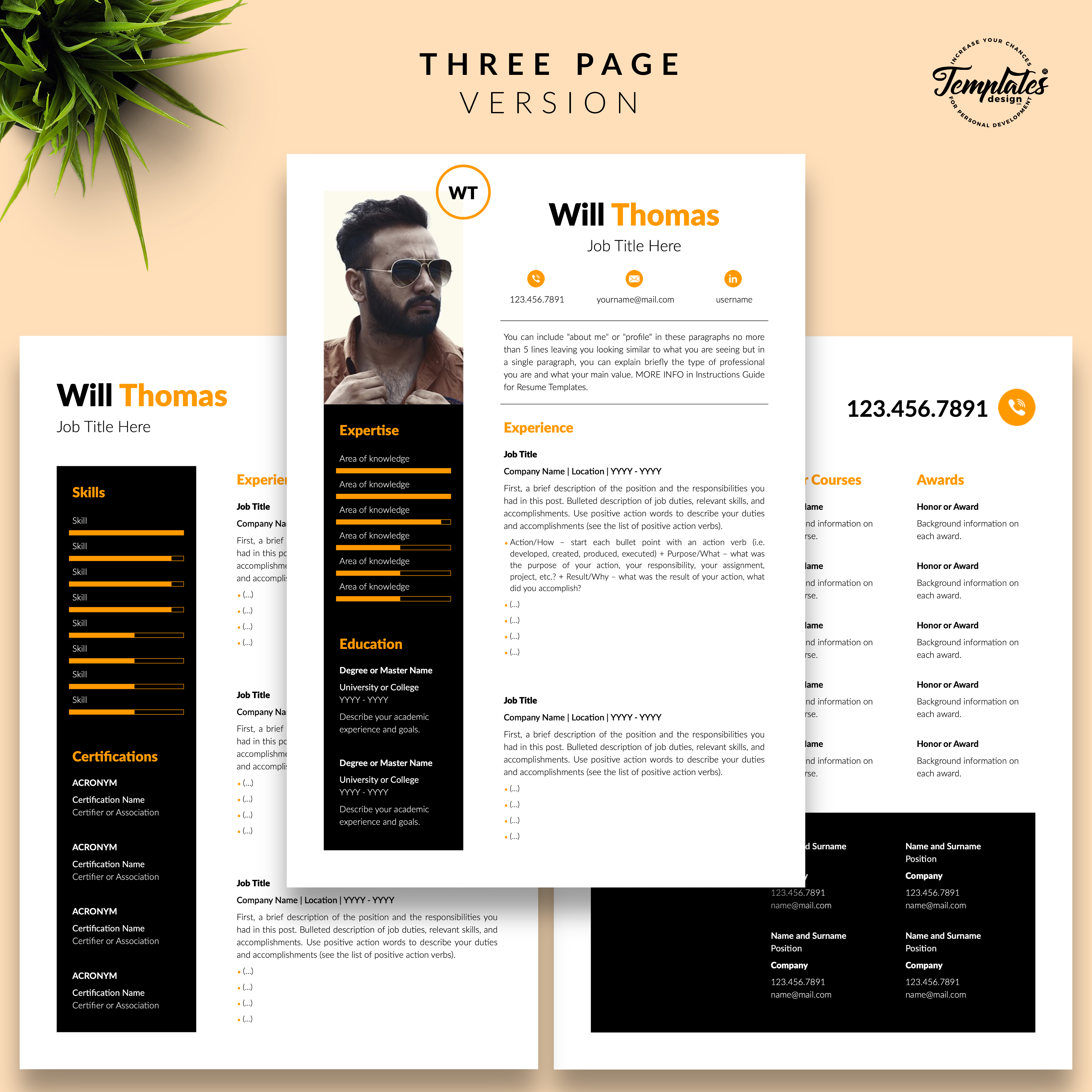 Three Page Resume Cv Layout For Microsoft Word Apple Pages Modern Resume Template Cv Template Professional Cv Template