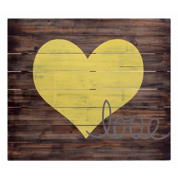 Yellow and Wood Love Wood Sign This Rustic sign / wall plaque ...