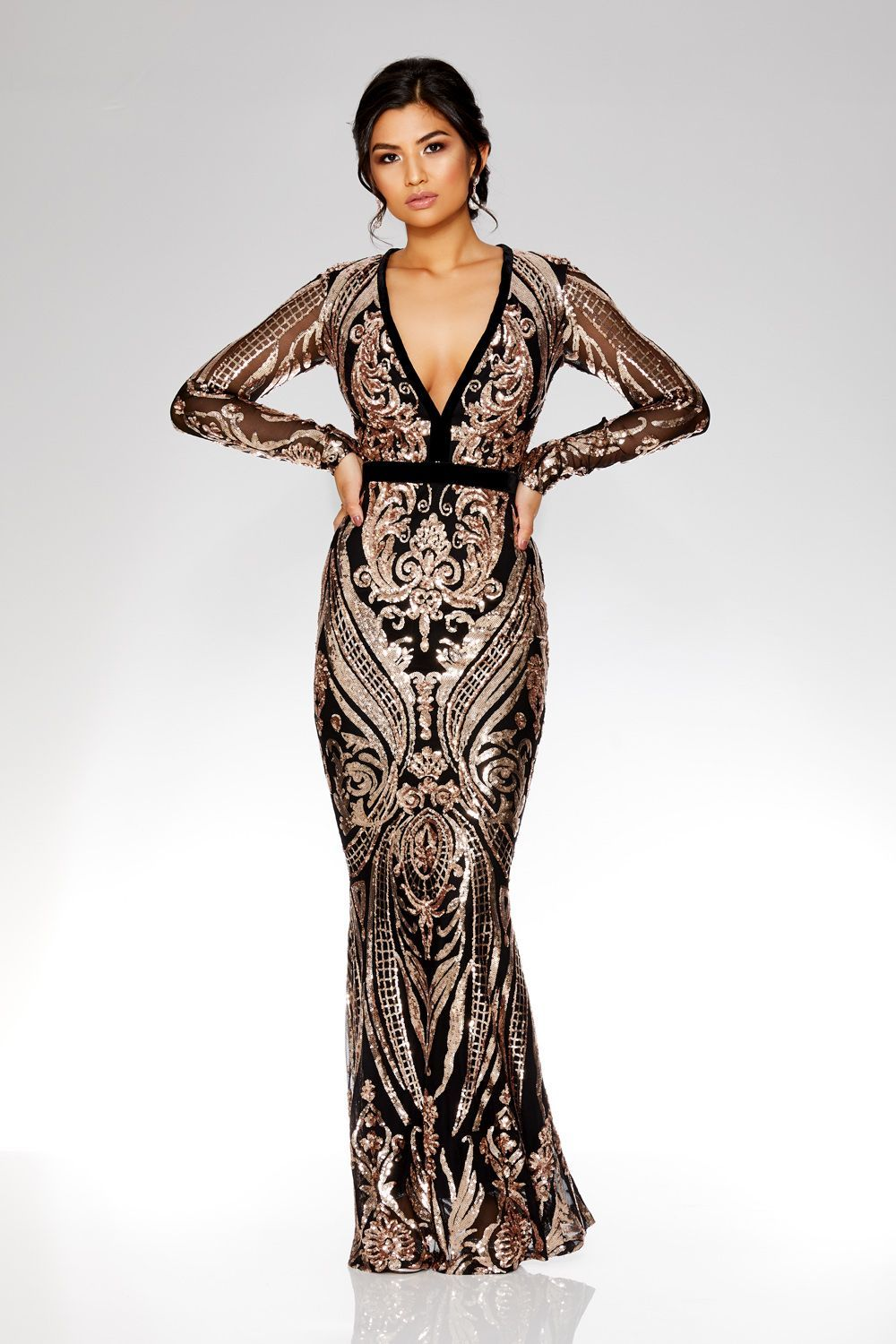 Black and rose gold sequin embellished fishtail maxi dress in