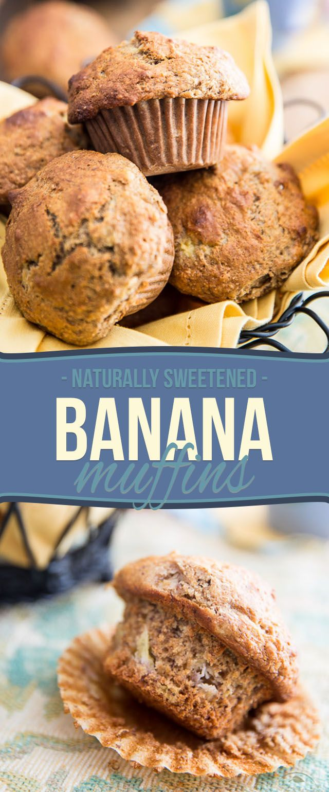 These Naturally Sweetened Banana Muffins taste just like a slice of yummy banana bread... you'll never believe how healthy they actually are!